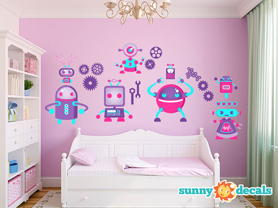 Robot Wall Decals for Girls